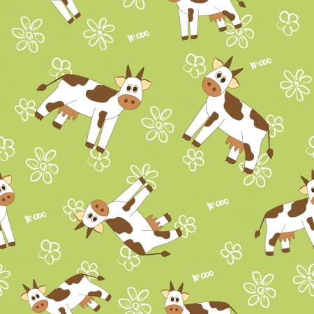cow on a field seamless pattern Illustration