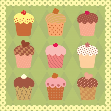 collection of decorated cakes Vector