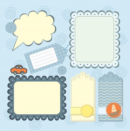 boy s frame and tags collection for scrapbook Vector