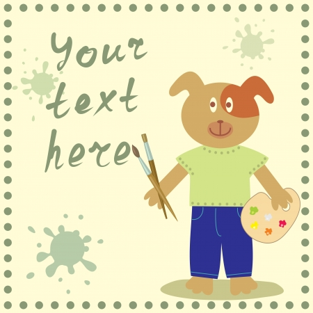 frame with funny dog for your text Vector