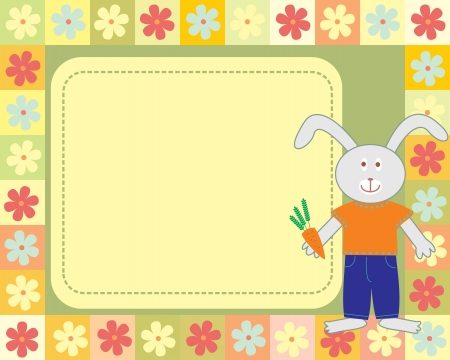 kid s frame with little rabbit Vector