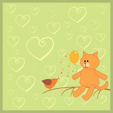 orange cat and singing bird Vector