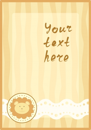 vertical frame with little lion Stock Vector - 14318106