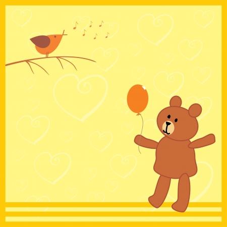 tweet balloon: little bear and his bird friend Illustration