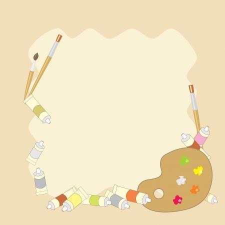 tavolozza pittore: sfondo con colori ad olio, pennelli e tavolozza