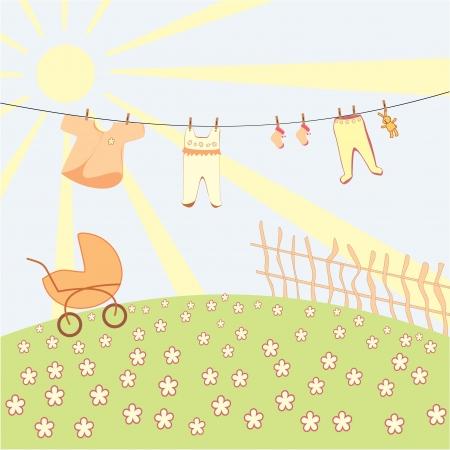 rammelaar: baby s ondergoed drogen op een touw Stock Illustratie