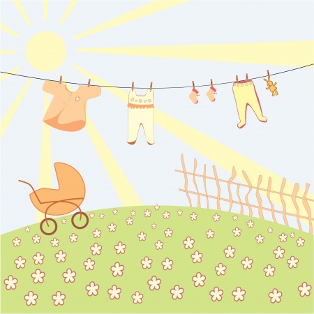 baby s underwear drying on a rope Vector