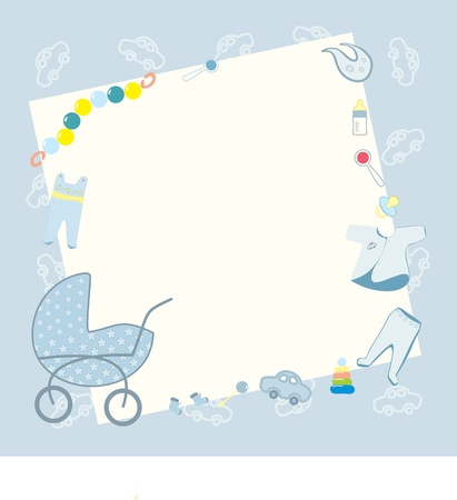 blue frame for newborn boy Vector