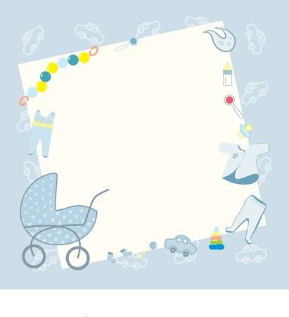 battesimo: cornice blu per il ragazzo neonato Vettoriali