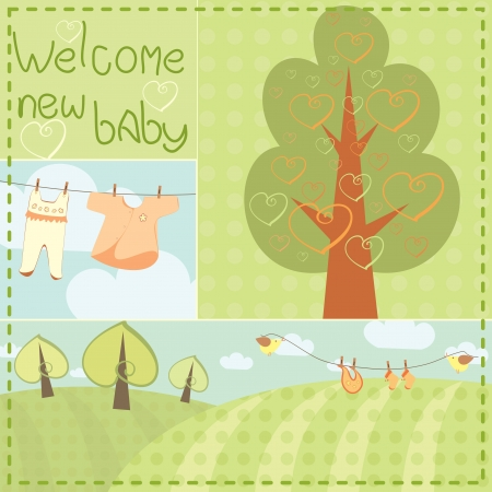template greeting card for newborn baby Vector
