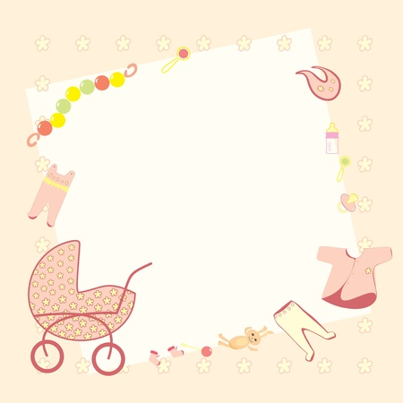 pink frame for the newborn girl with a pram, toys, rattles, pacifiers, bottles, vests, sliders, bib and booties Vector