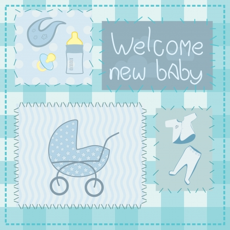 greeting card in patchwork style for newborn boy Vector