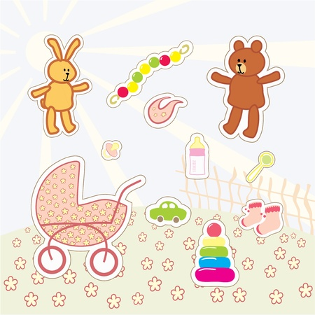 collection of kids stickers Vector