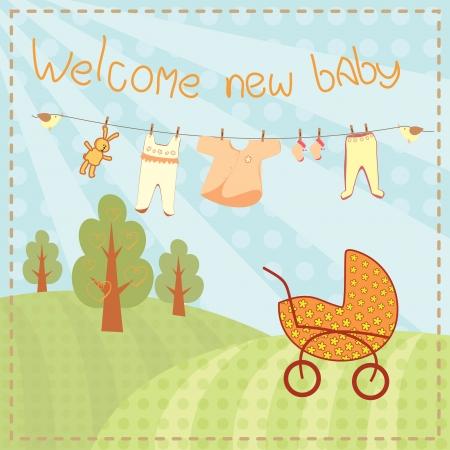baptism: Bienvenido nuevo beb� de tarjetas de felicitaci�n
