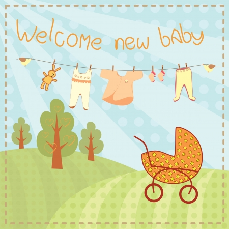 welcome new baby greeting card Vector