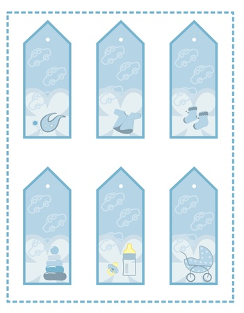 tag set for baby boy Illustration