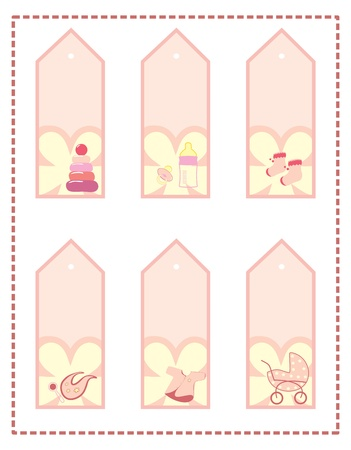 collection of baby s tags Illustration