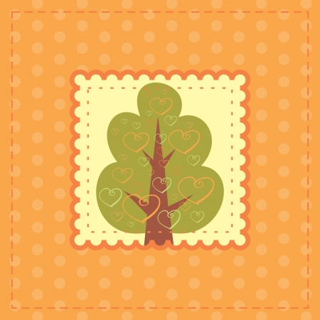 outumn: orange greeting card with tree in love