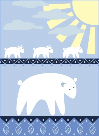 white bears family going for the fishing Stock Vector - 14313616