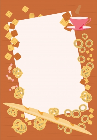 brown frame with a bread, buns, bagels, croissants, biscuits, sweets and a cup of tea Vector