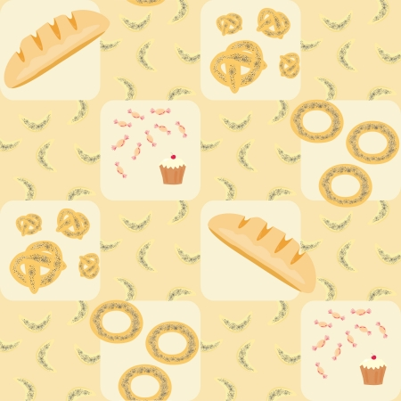 seamless pattern with bread, croissants, bread rings, cake and candy Stock Vector - 14317936