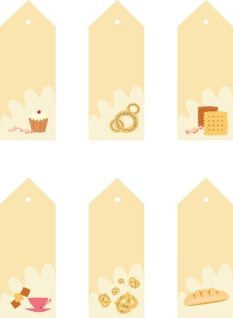 collection of tags with bakery and sweets