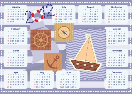 calendar for the year 2012 for little sailor Stock Vector - 14317486