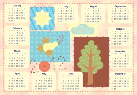 kid's: kid s calendar with patchwork application