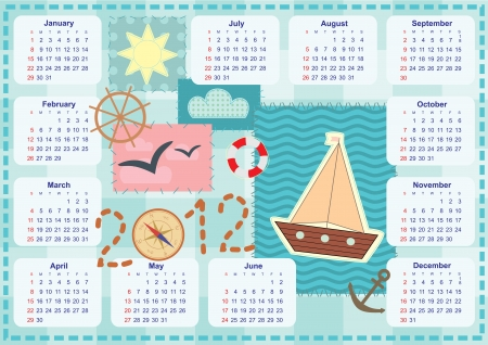calendar for the year 2012 with a ship in patchwork style Stock Vector - 14317487