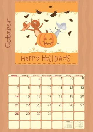 calendar for October 2012 Vector