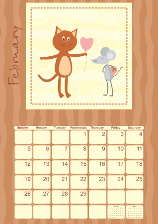 calendar month of February 2012 Vector