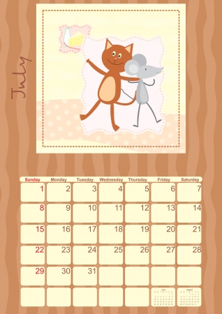 calendar of July 2012 Vector