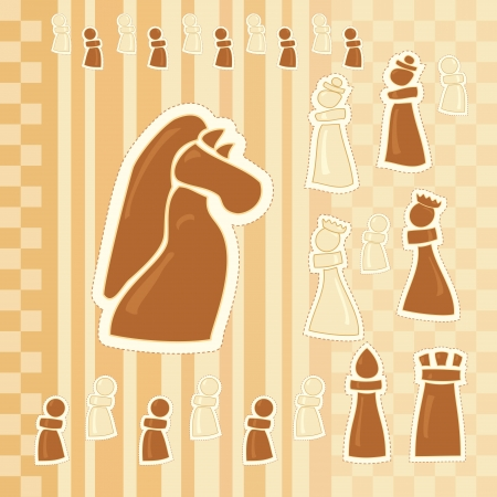 greeting card with chess figures Vector