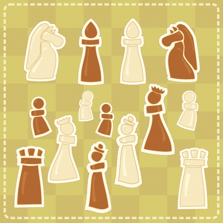stickers with stylized chess figures Vector