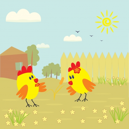 Two little chicken and a spica  wheat  on a village yard Stock Vector - 14318334