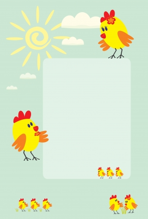 kid s frame with little chickens, sun and clouds Vector