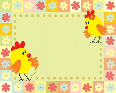 frame with two little chicken Vector