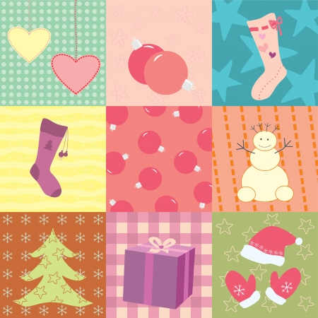 christmas card with nine patches Vector