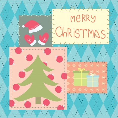 christmas card with patchwork Illustration