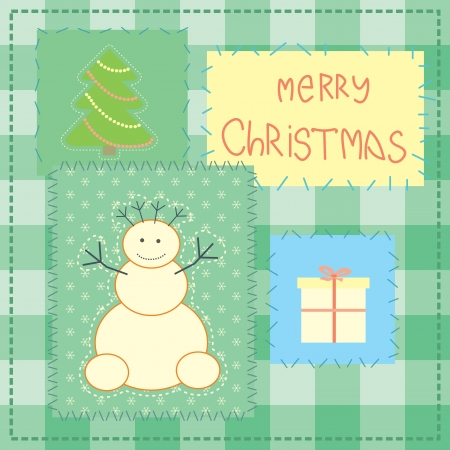 backstitch: christmas card with patchwork snowman
