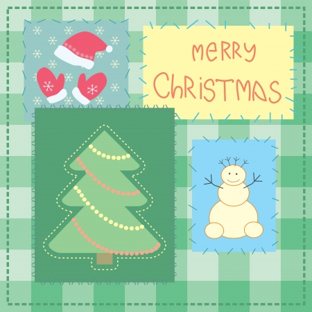 christmas card with patchwork tree Vector