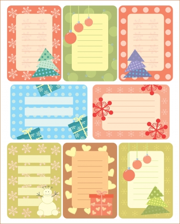 collection of christmas tags for scrapbooking Vector