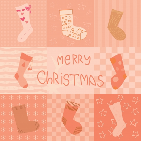 christmas card with socks collection Stock Vector - 14317460