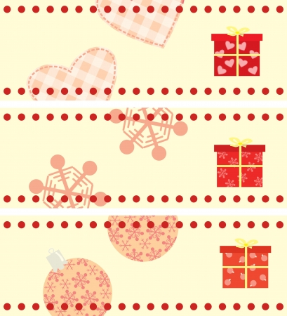 memorise: set of Christmas cards with a gifts horizontal format