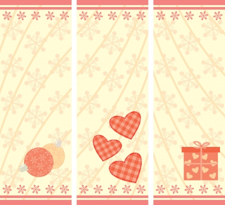 set of Christmas cards with snowflakes vertical format Vector