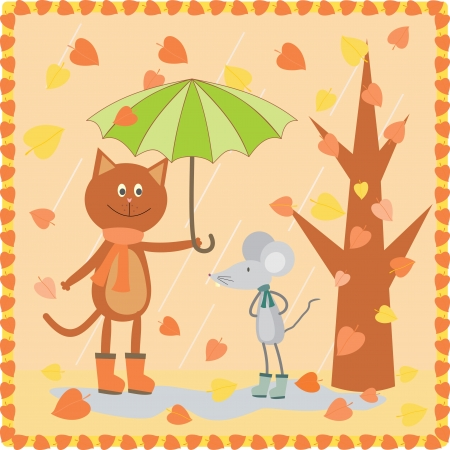 kitty and mouse walking at the autumn day Vector