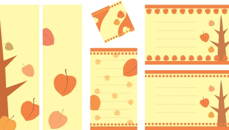 collection of decorative tags with autumn illustration Vector