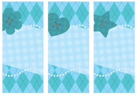 set of vertical postcards with stylized button Vector