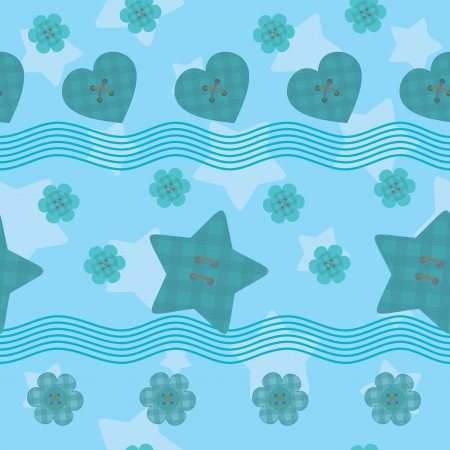 little stars buttons seamless pattern Vector