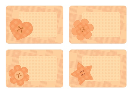 collection of horizontal cards with decorative buttons Vector